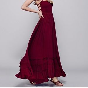 Free people red extratropical maxi dress s